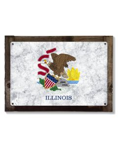 Illinois State Flag, Land of Lincoln, Metal Sign, Optional Rustic Wood Frame, Wall Decor, Wall Art, Vintage, FREE SHIPPING!