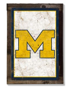 Michigan Wolverines, Wall Art, Rustic Metal Sign, Optional Rustic Wood Frame, College Teams, Mascots, and Sports, Free Shipping