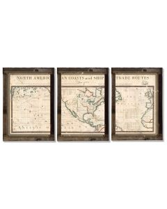 Vintage Antique North America Map, 1775, Triptych METAL Sign, Wall Decor, Wall Art , Optional Reclaimed Barn-wood Frame