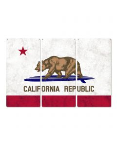 "California State Flag, California Bear, Surfboard, Triptych Metal Sign, Wall Decor, Wall Art, Vintage, 54""x36"""