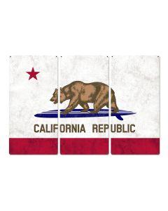 "California State Flag, California Bear, Surfboard, Triptych Metal Sign, Wall Decor, Wall Art, Vintage, 54""x36"""