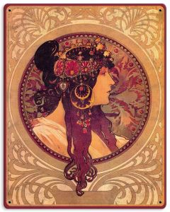 "Mucha , Donna-Orechini, Metal Sign, Wall Decor, Nouveau Art, 12""x15"""