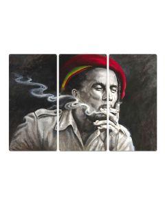 "Bob Marley, Painting Print, Triptych Metal Sign, Reggae, Rasta, Contemporary Art, Wall Decor, Wall Art, Vintage, 54""x36"""
