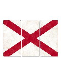 "Alabama State Flag, Sweet Home Alabama, Triptych Metal Sign, Wall Decor, Wall Art, Vintage, 54""x36"""