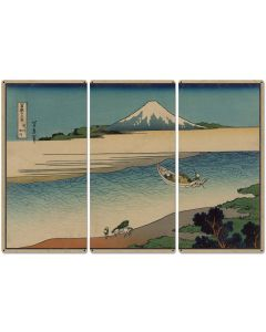 "Tama River, Mount Fuji, Fisherman, Packhorse, 1890, Triptych Metal Sign, Oriental, Chinese,  Wall Decor, Wall Art 54""x36"""