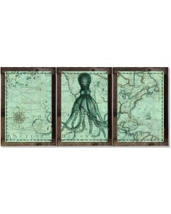 Octopus, Vintage Ship Route Map, Lord Bodner, Nautical, Ocean Life, Metal Triptych, Optional Rustic Wood Frame, Wall Art