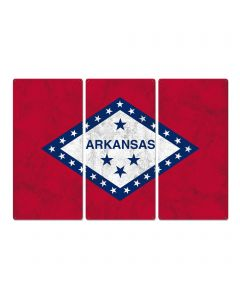 "Arkansas State Flag, The Land of Opportunity, Triptych Metal Sign, Wall Decor, Wall Art, Vintage, 54""x36"""