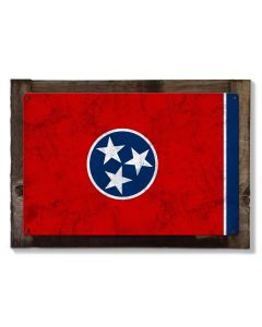 Tennessee State Flag, The Volunteer State,  Metal Sign, Optional Rustic Wood Frame, Wall Decor, Wall Art, Vintage, Rustic, FREE SHIPPING!