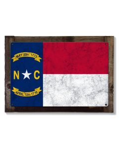 North Carolina State Flag, First in Flight, Metal Sign, Optional Rustic Wood Frame, Wall Decor, Wall Art, Vintage, FREE SHIPPING!