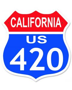 "Highway Route 420 California Metal Shield Highway Sign 15"" x 15"""