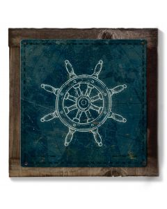 Ship Wheel, Sailor Theme Art, METAL Sign, Optional Reclaimed BarnWood Frame, American Steel, Wall Decor, Wall Art, Vintage, FREE SHIPPING
