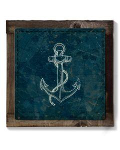 Ship Anchor, Beach House Art, METAL Sign, Optional Reclaimed BarnWood Frame, American Steel, Wall Decor, Wall Art, Vintage, FREE SHIPPING