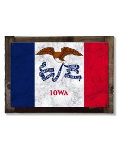 Iowa State Flag, Life Changing; Fields of Opportunity, Metal Sign, Optional Rustic Wood Frame, Wall Decor, Wall Art, FREE SHIPPING!