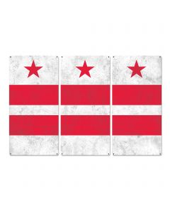 "Washington D.C. State Flag, Taxation Without Representation , Triptych Metal Sign, Wall Decor, Wall Art, Vintage, 54""x36"""