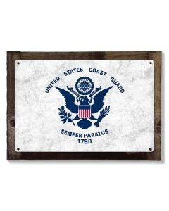 United States Coast Guard Flag, Metal Sign, Optional Rustic Wood Frame, Wall Decor, Wall Art, Vintage, Rustic, FREE SHIPPING!