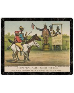 "African Americana, Darktown Race Facing The Fag, Metal Sign, Wall Decor, Black Art, Blackface, 12""x15"""