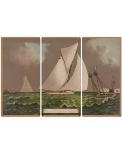 "Nearing The Finish Line, The America's Cup, Volunteer, Currier & Ives 1887, Triptych Metal Sign, Americana, Wall Decor, Wall Art 54""x36"""