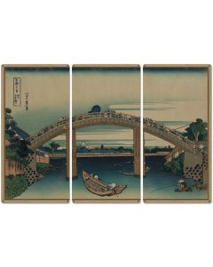 "Beneath Mannen Bridge, Mount Fuji, Fukagawa Mannenbashi Shita, 1826, Triptych Metal Sign, Oriental, Chinese,  Wall Decor, Wall Art 54""x36"""