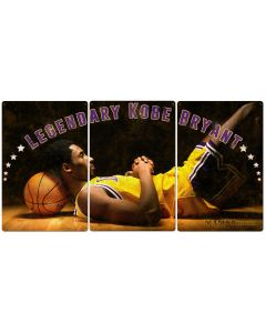 Kobe Bryant, Mamba, Basketball, Sports, Vintage, Photo, Triptych METAL Sign, Wall Art , Optional Reclaimed Barn Wood Frame