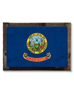 Idaho State Flag, Great Potatoes, Metal Sign, Optional Rustic Wood Frame, Wall Decor, Wall Art, Vintage, FREE SHIPPING!