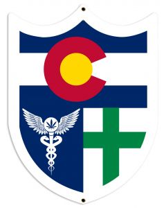 "Colorado Flag, Green Cross, Medical Marijuana, Cannabis,  Shield, Wall Decor, Cannabis Dispensary Decor, Man Cave Sign, Metal Sign 18""x24"""