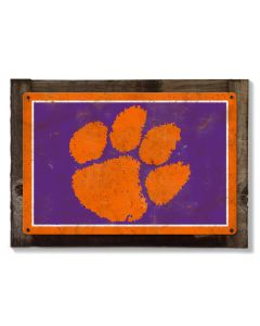 Clemson Tigers Wall Art, Rustic Metal Sign, Optional Rustic Wood Frame, College Teams, Mascots, and Sports, Free Shipping