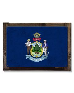 Maine State Flag, It Must be Maine, Metal Sign, Optional Rustic Wood Frame, Wall Decor, Wall Art, Vintage, FREE SHIPPING!
