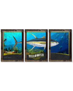 Ahi, Yellowfin Tuna, METAL Triptych, Optional Rustic Wood Frame, Sport Fishing, Wall Art, Ocean, Nautical