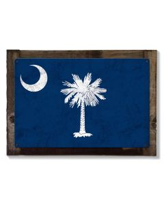 South Carolina State Flag, Smiling Faces Beautiful Places,   Metal Sign, Optional Rustic Wood Frame, Wall Decor, Wall Art, FREE SHIPPING!