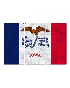 "Iowa State Flag, Life Changing; Fields of Opportunity, Triptych Metal Sign, Wall Decor, Wall Art, Vintage, 54""x36"""