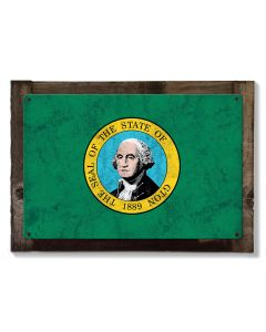 Washington State Flag, SayWA!; Evergreen State,  Metal Sign, Optional Rustic Wood Frame, Wall Decor, Wall Art, Vintage, FREE SHIPPING!
