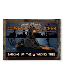 "Doberman Pinscher Neighborhood Watch  Dog Metal Sign, Wall Art, Wall Decor 24""x16"""