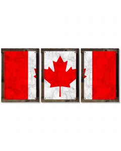 Canada Flag, Triptych METAL Sign, Vintage, Antique, Decor, Wall Art , Optional Reclaimed Barn-wood Frame