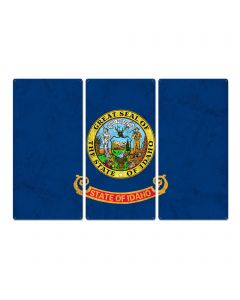 """Idaho State Flag, Great Potatoes, Triptych Metal Sign, Wall Decor, Wall Art, Vintage, 54""""x36"""""""