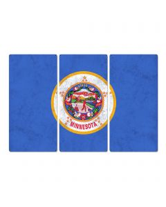 "Minnesota State Flag,  Explore Minnesota, Triptych Metal Sign, Wall Decor, Wall Art, Vintage, 54""x36"""