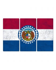 """Missouri State Flag,  Where the Rivers Run, Triptych Metal Sign, Wall Decor, Wall Art, Vintage, 54""""x36"""""""