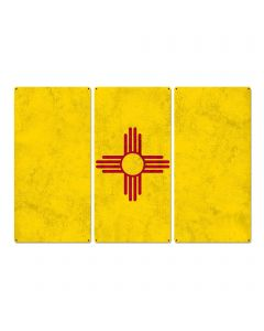 "New Mexico State Flag, Land of Enchantment, Triptych Metal Sign, Wall Decor, Wall Art, Vintage, 54""x36"""