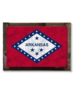 Arkansas State Flag, The Land of Opportunity, Metal Sign, Optional Rustic Wood Frame, Wall Decor, Wall Art, Vintage, FREE SHIPPING!