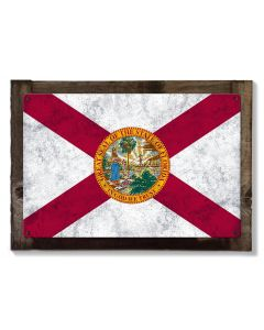 Florida State Flag, Sunshine State, Metal Sign, Optional Rustic Wood Frame, Wall Decor, Wall Art, Vintage, FREE SHIPPING!