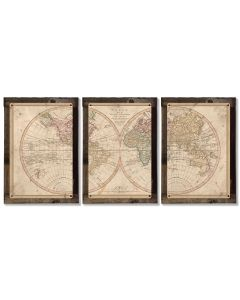 Vintage World Map, 1807, Triptych METAL Sign, Americana, Wall Decor, Globe Wall Art , Optional Reclaimed Barn-wood Frame