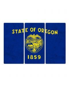 "Oregon State Flag, We Love Dreamers, Triptych Metal Sign, Wall Decor, Wall Art, Vintage, 54""x36"""