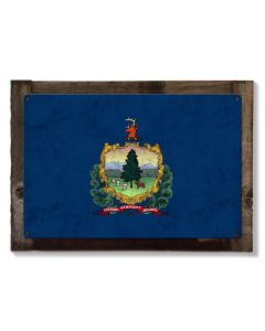 Vermont State Flag, The Green Mountain State, Metal Sign, Optional Rustic Wood Frame, Wall Decor, Wall Art, Vintage, Rustic, FREE SHIPPING!