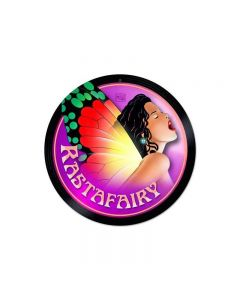 "Rasta Fairy Marijuana Metal Sign 14"" Round"