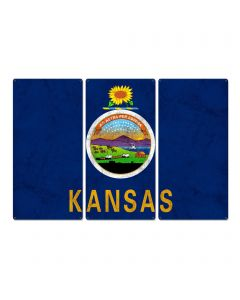 "Kansas State Flag, Kansas, as big as you think, Triptych Metal Sign, Wall Decor, Wall Art, Vintage, 54""x36"""
