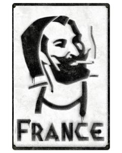France Zig-Zag Man rolling papers Spray Art Metal Sign