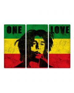 "Bob Marley, Spray Art, One Love, Triptych Metal Sign, Street Art, Reggae, Rasta, Flag, Wall Decor, Wall Art, Vintage, 54""x36"""