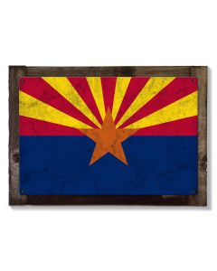 Arizona State Flag, The Grand Canyon State, Metal Sign, Optional Rustic Wood Frame, Wall Decor, Wall Art, Vintage, FREE SHIPPING!