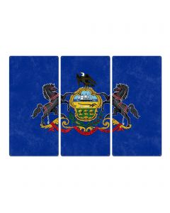 "Pennsylvania State Flag, Virtue Liberty Independence, Triptych Metal Sign, Wall Decor, Wall Art, Vintage, 54""x36"""