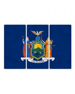 "New York State Flag, I Love New York, Empire State, Triptych Metal Sign, Wall Decor, Wall Art, Vintage, 54""x36"""