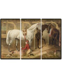 "The Jockey's Prayer, With Prayer Text, Currier & Ives 1868, Horse Races, Triptych Metal Sign, Americana, Wall Decor, Wall Art 54""x36"""